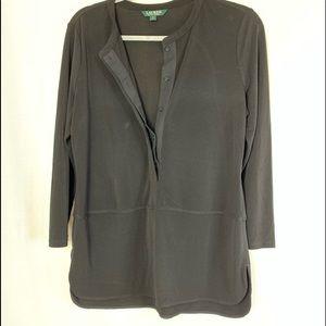 Ralph Ralph Lauren black jersey knit tunic M NWOT